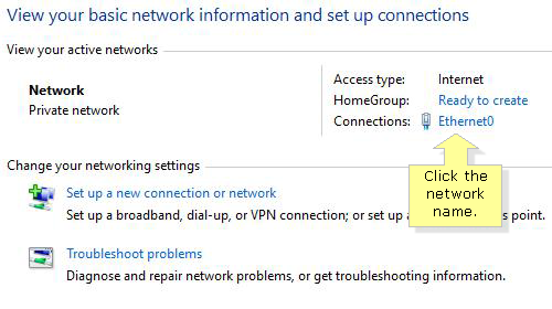 Network and sharing center connections in windows 10