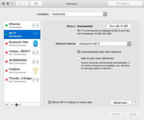 Network then click Avanced MAC OS