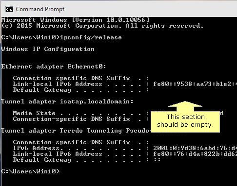No Computer IP address in Windows 10