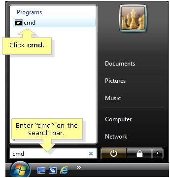 Open CMD in Windows 7 Vista