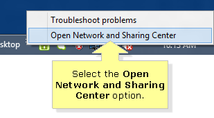 Open and Sharing center in windows 8