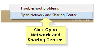 Open network and sharing center in Windows 8 8.1