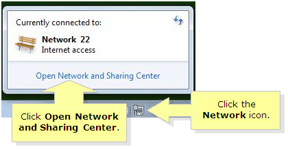 Open network and sharing center in windows 7
