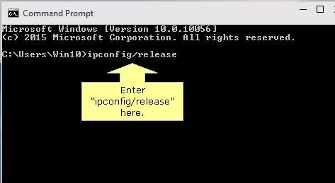 Release IP address in windows 10