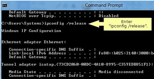 Release IP address in windows 8 8.1