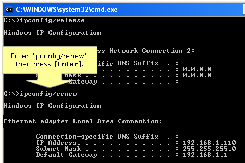 Release and renew IP address in Windows XP