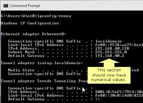 Renew IP address in Windows 10 part 2