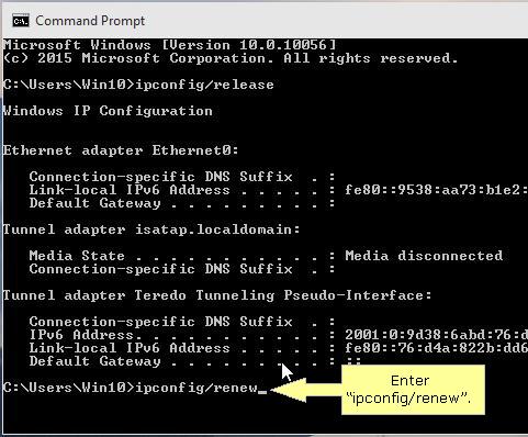 Renew IP address in Windows 10