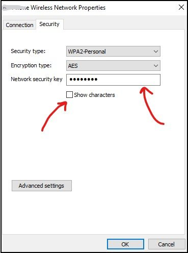 Security tab in wireless network properties in windows 10