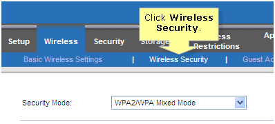 Select wireless security linksys