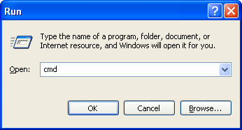 Type CMD in RUN in Windows XP