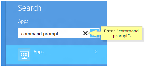 Type command prompt in windows 8 8.1
