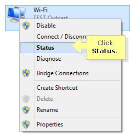 Wireless connection status windows 8