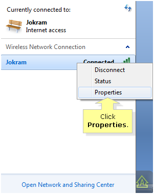 right click on network name in windows 7