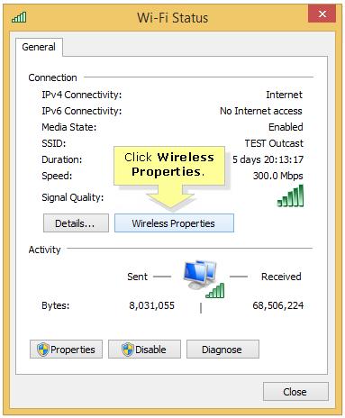 wireless properties windows 8