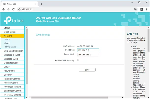 Changing IP address in the secondary router