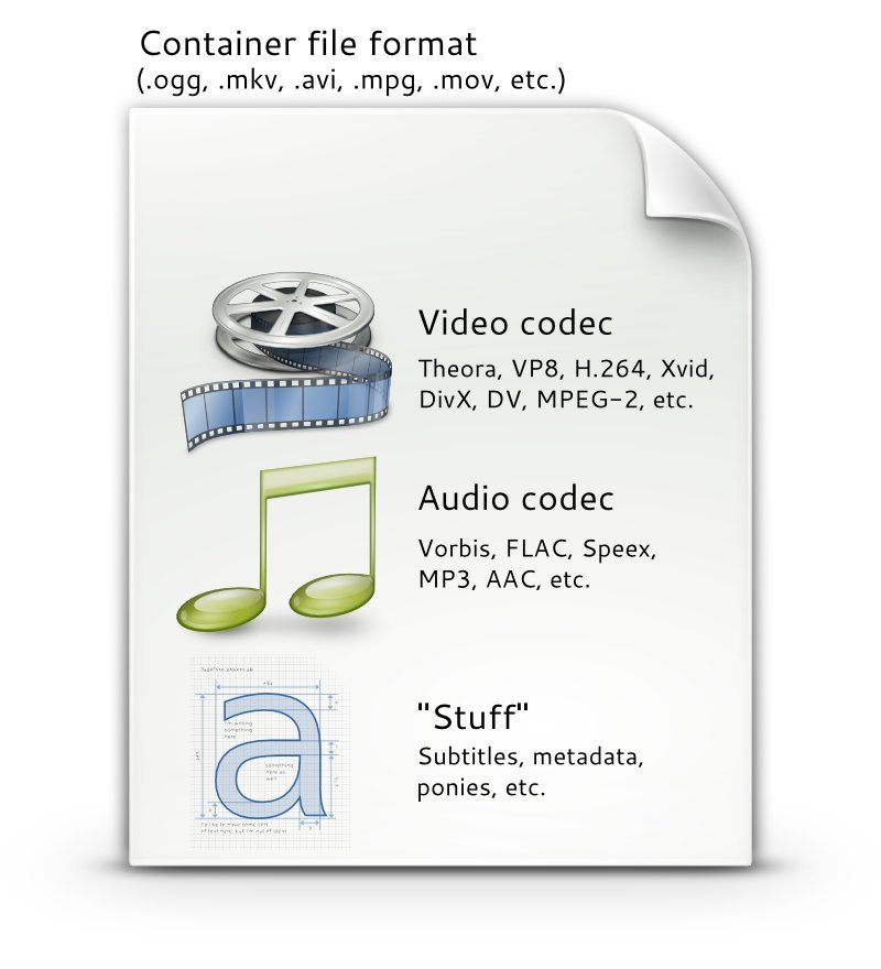 Container video codec audio codec and other stuff