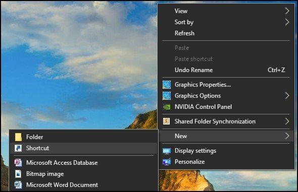 Create command prompt desktop shortcut