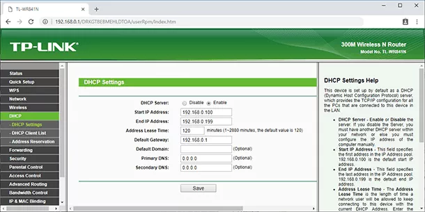 DHCP server in main router