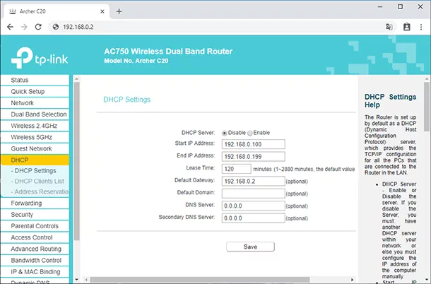 Disable DHCP server in Secondary router