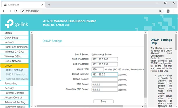 Enable DHCP server in secondary router