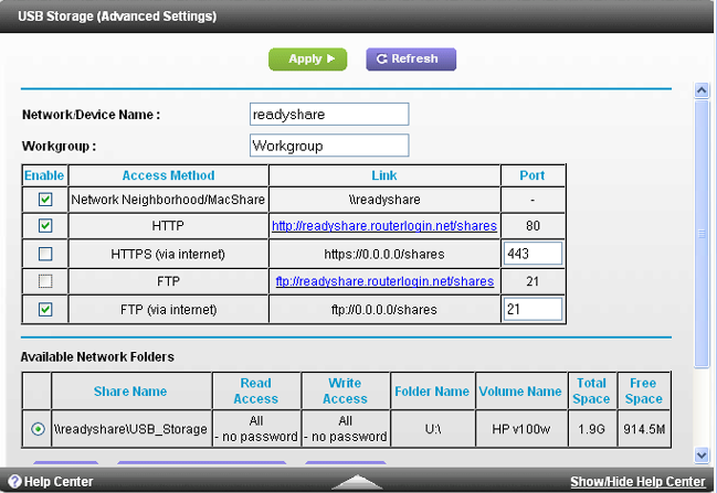 FTP USB storage in router