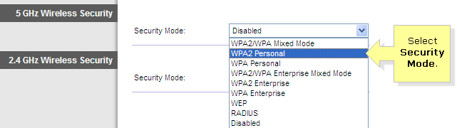 Security mode WPA2 personal