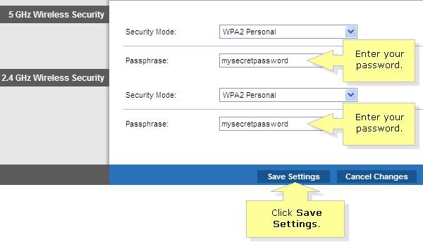 Set passphrase in wireless router