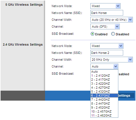 Setting channel in the wireless router