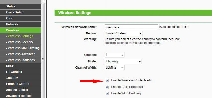 Turn off router in TP Link