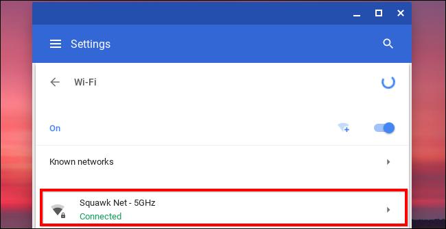 Wifi network in chromebook
