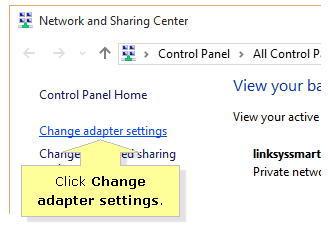 Windows 10 Change network settings