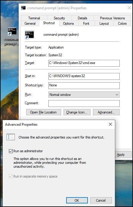 Windows 10 Command prompt admin privilege