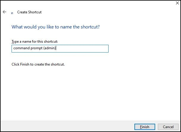 Windows 10 Command prompt name the shorcut