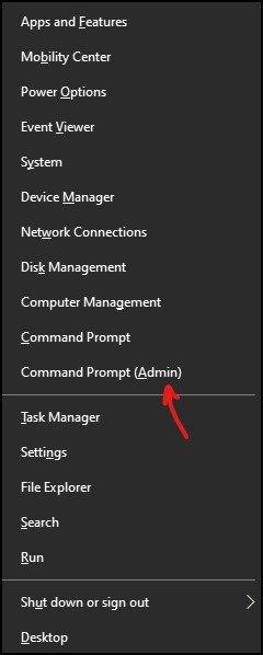 Windows 10 command prompt using power start menu