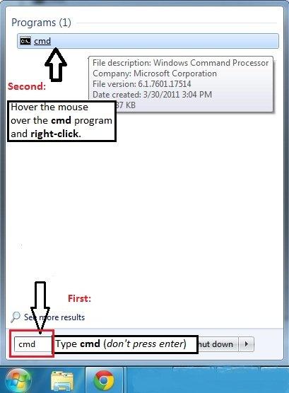Windows 7 CMD in search result