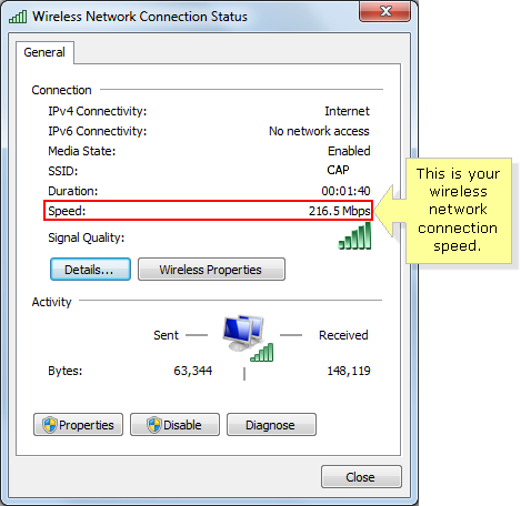 Windows 7 wireless connection speed