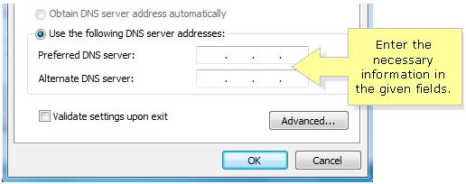 Windows 8 DNS server addresses