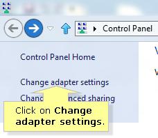 Windows 8 change adapter settings