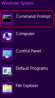 Windows 8 command prompt in Windows system