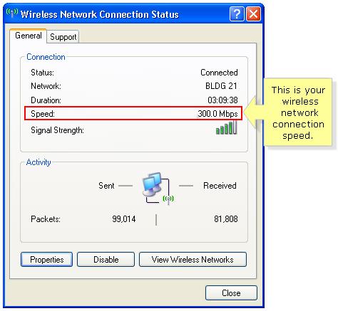 Windows XP Wireless network connection status