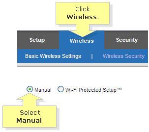 Wireless manual setting