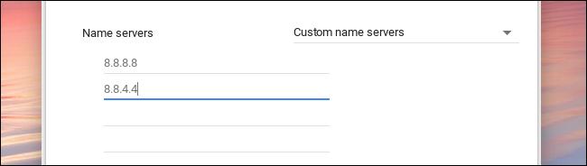 custom name servers chromebook