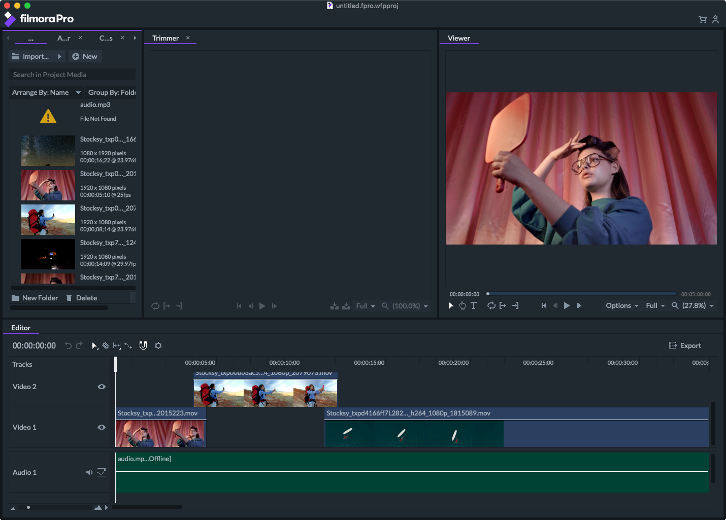 filmorapro video editor for Xvid file