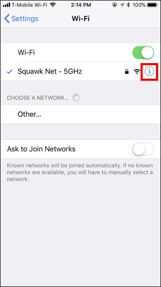select wfi in iphone or ipad