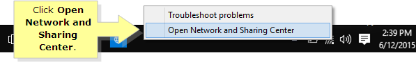 windows 8 open network and sharing center