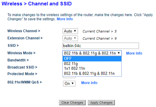 Belkin channel and SSID