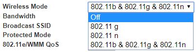 Belkin dashboard wireless mode