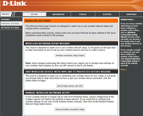 D Link wireless setting page