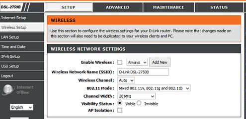 Verizon DLink Wireless network settings